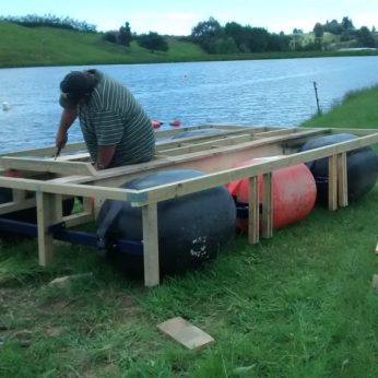 Selwyn - building the pontoon for Nile Road